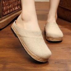 รองเท้าแตะเพื่อสุขภาพ แฟชั่นเกาหลีผ้าลินินทอมือนุ่มสบาย นำเข้า ไซส์35ถึง40 สีครีม - พรีออเดอร์RB2365 ราคา1450บาท