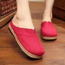 รองเท้าแตะเพื่อสุขภาพ แฟชั่นเกาหลีผ้าลินินทอมือนุ่มสบาย นำเข้า ไซส์35ถึง40 สีแดง - พรีออเดอร์RB2365 ราคา1450บาท