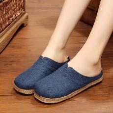 รองเท้าแตะเพื่อสุขภาพ แฟชั่นเกาหลีผ้าลินินทอมือนุ่มสบาย นำเข้า ไซส์35ถึง40 สีน้ำเงิน - พรีออเดอร์RB2365 ราคา1450บาท