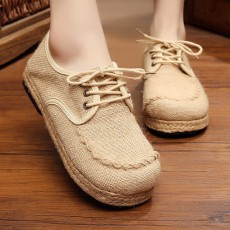 รองเท้าผ้าใบเพื่อสุขภาพ แฟชั่นเกาหลีผ้าลินินทอมือนุ่มสบาย นำเข้า ไซส์35ถึง40 สีครีม - พรีออเดอร์RB2366 ราคา1450บาท
