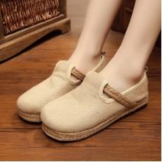 รองเท้าผ้าใบเพื่อสุขภาพ แฟชั่นเกาหลีผ้าลินินทอมือนุ่มสบาย นำเข้า ไซส์35ถึง40 สีครีม - พรีออเดอร์RB2366 ราคา1650บาท