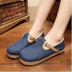 รองเท้าผ้าใบเพื่อสุขภาพ แฟชั่นเกาหลีผ้าลินินทอมือนุ่มสบาย นำเข้า ไซส์35ถึง40 สีน้ำเงิน - พรีออเดอร์RB2366 ราคา1650บาท