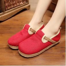 รองเท้าผ้าใบเพื่อสุขภาพ แฟชั่นเกาหลีผ้าลินินทอมือนุ่มสบาย นำเข้า ไซส์35ถึง40 สีแดง - พรีออเดอร์RB2366 ราคา1650บาท