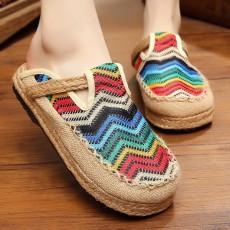 รองเท้าแตะเพื่อสุขภาพ แฟชั่นเกาหลีผ้าลินินทอมือนุ่มสบาย นำเข้า ไซส์35ถึง40 สีฟ้า - พรีออเดอร์RB2368 ราคา1450บาท
