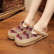 รองเท้าแตะเพื่อสุขภาพ แฟชั่นเกาหลีผ้าลินินทอมือนุ่มสบาย นำเข้า ไซส์35ถึง40 สีน้ำตาล - พรีออเดอร์RB2368 ราคา1450บาท