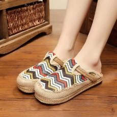 รองเท้าแตะเพื่อสุขภาพ แฟชั่นเกาหลีผ้าลินินทอมือนุ่มสบาย นำเข้า ไซส์35ถึง40 สีครีม - พรีออเดอร์RB2368 ราคา1450บาท