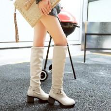 รองเท้าบูทยาว แฟชั่นเกาหลีส้นเตี้ยแบบหนังมีไซส์ใหญ่ นำเข้า ไซส์34ถึง43 สีขาว - พรีออเดอร์RB2371 ราคา1950บาท