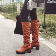 รองเท้าบูทยาว แฟชั่นเกาหลีส้นเตี้ยแบบหนังมีไซส์ใหญ่ นำเข้า ไซส์34ถึง43 สีน้ำตาล - พรีออเดอร์RB2371 ราคา1950บาท