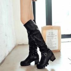 รองเท้าบูทยาว แฟชั่นเกาหลีส้นเตี้ยแบบหนังมีไซส์ใหญ่ นำเข้า ไซส์34ถึง43 สีดำ - พรีออเดอร์RB2371 ราคา1950บาท