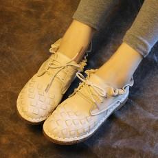 รองเท้าหนังแท้แฮนเมดวินเทจหนังสานคัทชูส้นเตี้ยแฟชั่นเกาหลี นำเข้า สีครีม ไซส์35-40 พรีออเดอร์RB2376 ราคา3950บาท