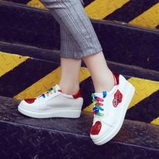รองเท้าผ้าใบส้นหนา แฟชั่นเกาหลีผู้หญิงกลิ้ตเตอร์หัวใจ นำเข้า ไซส์33ถึง43 สีแดง - พรีออเดอร์RB2379 ราคา1950บาท