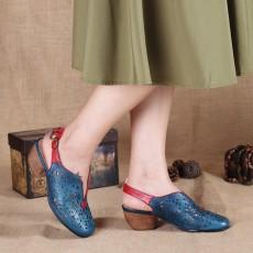 รองเท้าหนังแท้เพื่อสุขภาพ แฟชั่นเกาหลีมีส้นสายรัดหลังเท้าหนังฉลุ นำเข้า 34-40 สีน้ำเงิน - พรีออเดอร์RB2380 ราคา3900บาท