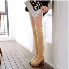 รองเท้าบูทยาว กันหนาวพับได้หนังกลับแฟชั่นเกาหลีใหม่ นำเข้า ไซส์34ถึง43 สีครีม - พรีออเดอร์RB2382 ราคา1850บาท