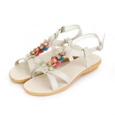 รองเท้าแตะรัดส้น สวมเพื่อสุขภาพแฟชั่นเกาหลีแต่งดอกไม้ นำเข้า ไซส์34ถึง39 สีครีม - พรีออเดอร์RB2383 ราคา1350บาท