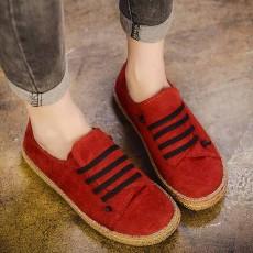 รองเท้าผ้าใบคัทชู แฟชั่นเกาหลีหนังกลับใส่ลำลองสบายใหม่ นำเข้า ไซส์35ถึง39 สีแดง - พรีออเดอร์RB2385 ราคา1350บาท