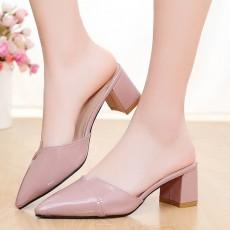 รองเท้าหัวแหลม หนังแก้วแฟชั่นเกาหลีสวมเปิดส้นสวยใหม่ นำเข้าไซส์35ถึง39 สีชมพู - พรีออเดอร์RB2387 ราคา1550บาท