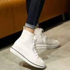 รองเท้าผ้าใบหนังหุ้มข้อส้นหนา แฟชั่นเกาหลีผู้หญิงสไตล์บูทสั้นใหม่ นำเข้า ไซส์31ถึง43 สีขาว - พรีออเดอร์RB2388 ราคา2250บาท