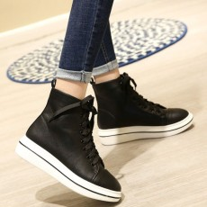 รองเท้าผ้าใบหนังหุ้มข้อส้นหนา แฟชั่นเกาหลีผู้หญิงสไตล์บูทสั้นใหม่ นำเข้า ไซส์31ถึง43 สีดำ - พรีออเดอร์RB2388 ราคา2250บาท