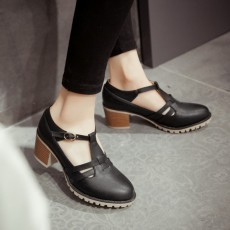 รองเท้าส้นสูง แฟชั่นเกาหลีส้นใหญ่มีสายรัดรุ่นใหม่ใส่สบายน่ารัก นำเข้าไซส์33ถึง43 สีดำ - พรีออเดอร์RB2389 ราคา1850บาท
