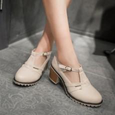 รองเท้าส้นสูง แฟชั่นเกาหลีส้นใหญ่มีสายรัดรุ่นใหม่ใส่สบายน่ารัก นำเข้าไซส์33ถึง43 สีครีม - พรีออเดอร์RB2389 ราคา1850บาท