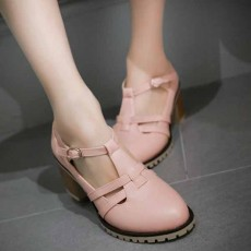 รองเท้าส้นสูง แฟชั่นเกาหลีส้นใหญ่มีสายรัดรุ่นใหม่ใส่สบายน่ารัก นำเข้าไซส์33ถึง43 สีชมพู - พรีออเดอร์RB2389 ราคา1850บาท