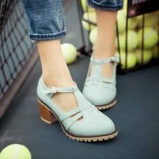 รองเท้าส้นสูง แฟชั่นเกาหลีส้นใหญ่มีสายรัดรุ่นใหม่ใส่สบายน่ารัก นำเข้าไซส์33ถึง43 สีฟ้า - พรีออเดอร์RB2389 ราคา1850บาท