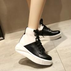รองเท้าผ้าใบหนังหุ้มข้อส้นหนา แฟชั่นเกาหลีสไตล์บูทสั้นใหม่ นำเข้า ไซส์34ถึง43 สีดำ - พรีออเดอร์RB2390 ราคา2100บาท