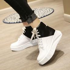 รองเท้าผ้าใบหนังหุ้มข้อส้นหนา แฟชั่นเกาหลีสไตล์บูทสั้นใหม่ นำเข้า ไซส์34ถึง43 สีขาว - พรีออเดอร์RB2390 ราคา2100บาท