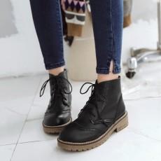 รองเท้าบูทสั้น หุ้มข้อส้นเตี้ยแฟชั่นเกาหลีสไตล์มาร์ติน นำเข้า ไซส์34ถึง43 สีดำ - พรีออเดอร์RB2393 ราคา2250บาท