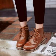 รองเท้าบูทสั้น หุ้มข้อส้นเตี้ยแฟชั่นเกาหลีสไตล์มาร์ติน นำเข้า ไซส์34ถึง43 สีน้ำตาล - พรีออเดอร์RB2393 ราคา2250บาท