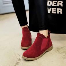 รองเท้าบูทสั้น แฟชั่นเกาหลีส้นเตี้ยหนังกลับใหม่มีไซส์ใหญ่ นำเข้า ไซส์34ถึง43 สีแดง - พรีออเดอร์RB2394 ราคา1950บาท