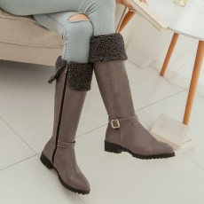 รองเท้าบูทยาว กันหนาวส้นเตี้ยบุขนด้านในแฟชั่นเกาหลีใหม่ นำเข้า ไซส์34ถึง43 สีเทา - พรีออเดอร์RB2397 ราคา1990บาท
