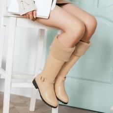 รองเท้าบูทยาว กันหนาวส้นเตี้ยบุขนด้านในแฟชั่นเกาหลีใหม่ นำเข้า ไซส์34ถึง43 สีครีม - พรีออเดอร์RB2397 ราคา1990บาท