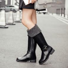 รองเท้าบูทยาว กันหนาวส้นเตี้ยบุขนด้านในแฟชั่นเกาหลีใหม่ นำเข้า ไซส์34ถึง43 สีดำ - พรีออเดอร์RB2397 ราคา1990บาท
