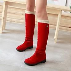 รองเท้าบูทยาว กันหนาวส้นเตี้ยแฟชั่นเกาหลีขนกำมะหยี่รุ่นใหม่ นำเข้า ไซส์34ถึง43 สีแดง - พรีออเดอร์RB2400 ราคา1950บาท