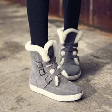รองเท้าบูทกันหนาว แฟชั่นเกาหลีบุขนเฟอร์ส้นเตี้ย นำเข้า ไซส์33ถึง43 สีเทา - พรีออเดอร์RB2401 ราคา1990บาท