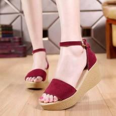 รองเท้าส้นตึกหนังกลับ แฟชั่นเกาหลีส้นเตารีดมีสายรัดข้อเท้า นำเข้าไซส์33ถึง43 สีแดง - พรีออเดอร์RB2404 ราคา1850บาท