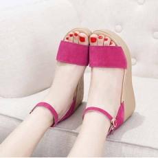 รองเท้าส้นตึกหนังกลับ แฟชั่นเกาหลีส้นเตารีดมีสายรัดข้อเท้า นำเข้าไซส์33ถึง43 สีชมพู - พรีออเดอร์RB2404 ราคา1850บาท