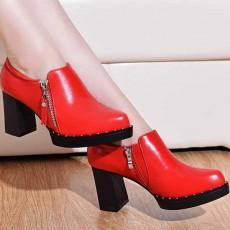 รองเท้าส้นสูง แฟชั่นเกาหลีคัทชูเซ็กซี่คล่องตัวซิปข้าง นำเข้าไซส์33ถึง43 สีแดง - พรีออเดอร์RB2405 ราคา1850บาท