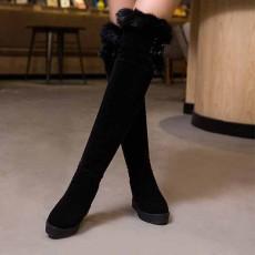 รองเท้าบูทยาว ปิดเข่าแฟชั่นเกาหลีบุขนเฟอร์กันหนาวสวยมาก นำเข้า ไซส์34ถึง43 สีดำ - พรีออเดอร์RB2411 ราคา2300บาท
