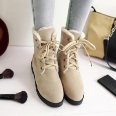 รองเท้าผ้าใบหุ้มข้อกันหนาว แฟชั่นเกาหลีผู้หญิงสไตล์บูทสั้นใหม่ นำเข้า ไซส์34ถึง43 สีครีม - พรีออเดอร์RB2413 ราคา1990บาท