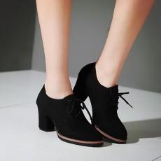 รองเท้าส้นสูง แฟชั่นเกาหลีคัทชูบูทหนังกลับส้นใหญ่เดินง่าย นำเข้าไซส์32ถึง43 สีดำ - พรีออเดอร์RB2415 ราคา1950บาท