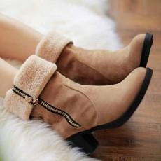 รองเท้าบูทกันหนาวพับได้ แฟชั่นเกาหลีบุขนเฟอร์ซิปข้างมีส้น นำเข้า ไซส์34ถึง43 สีน้ำตาล - พรีออเดอร์RB2418 ราคา1990บาท