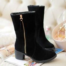 รองเท้าบูทกันหนาวพับได้ แฟชั่นเกาหลีบุขนเฟอร์ซิปข้างมีส้น นำเข้า ไซส์34ถึง43 สีดำ - พรีออเดอร์RB2418 ราคา1990บาท
