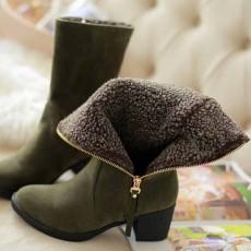 รองเท้าบูทกันหนาวพับได้ แฟชั่นเกาหลีบุขนเฟอร์ซิปข้างมีส้น นำเข้า ไซส์34ถึง43 สีเขียว - พรีออเดอร์RB2418 ราคา1990บาท