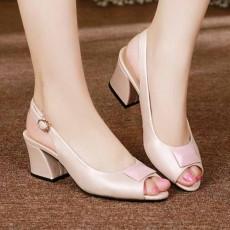 รองเท้าหนังแท้เพื่อสุขภาพ แฟชั่นเกาหลีเปิดหน้าเท้าสายรัดส้น นำเข้า ไซส์33ถึง41 สีชมพู - พรีออเดอร์RB2419 ราคา1990บาท
