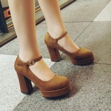 รองเท้าส้นสูง แฟชั่นเกาหลีหนังกลับมีสายรัดหลังเท้าไซส์เล็กใหญ่ นำเข้าไซส์32ถึง42 สีน้ำตาล - พรีออเดอร์RB2421 ราคา2100บาท