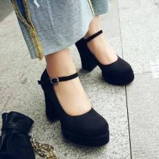 รองเท้าส้นสูง แฟชั่นเกาหลีหนังกลับมีสายรัดหลังเท้าไซส์เล็กใหญ่ นำเข้าไซส์32ถึง42 สีดำ - พรีออเดอร์RB2421 ราคา2100บาท