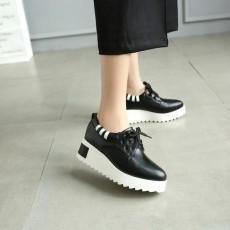 รองเท้าผ้าใบส้นหนา แฟชั่นเกาหลีผู้หญิงแบบหนังผูกเชือกใหม่ นำเข้า ไซส์31ถึง43 สีดำ - พรีออเดอร์RB2427 ราคา2100บาท