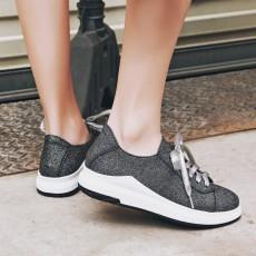 รองเท้าผ้าใบส้นหนา แฟชั่นเกาหลีผู้หญิงแบบหนังผูกเชือกใหม่ นำเข้า ไซส์34ถึง43 สีดำ - พรีออเดอร์RB2428 ราคา1950บาท
